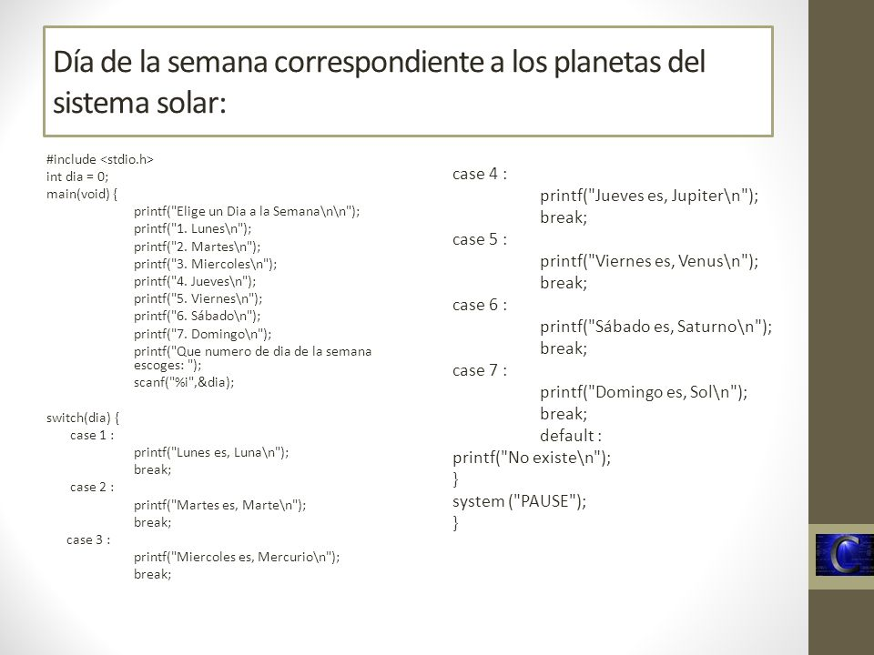 Día de la semana correspondiente a los planetas del sistema solar: