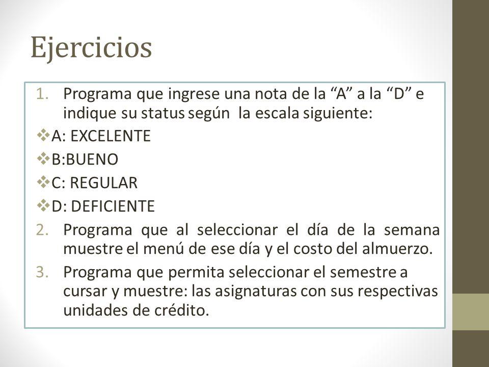 Ejercicios Programa que ingrese una nota de la A a la D e indique su status según la escala siguiente: