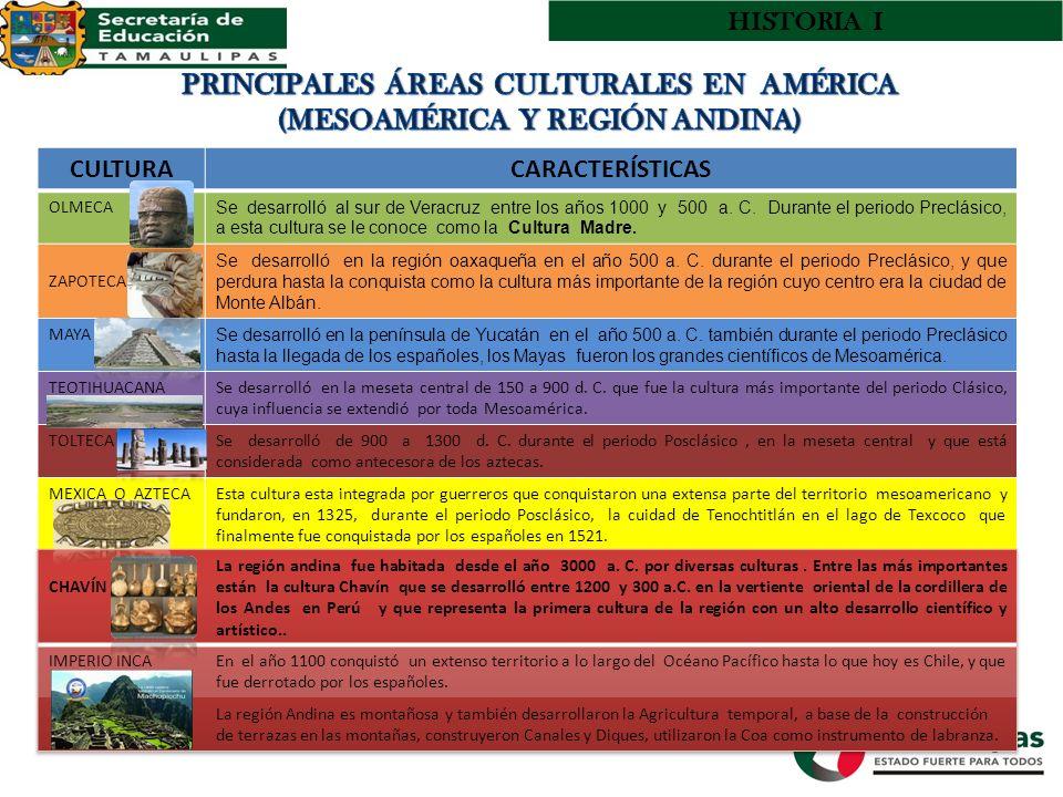 PRINCIPALES ÁREAS CULTURALES EN AMÉRICA (MESOAMÉRICA Y REGIÓN ANDINA)