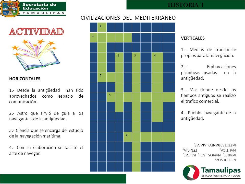 ACTIVIDAD HISTORIA I CIVILIZACIÓNES DEL MEDITERRÁNEO VERTICALES