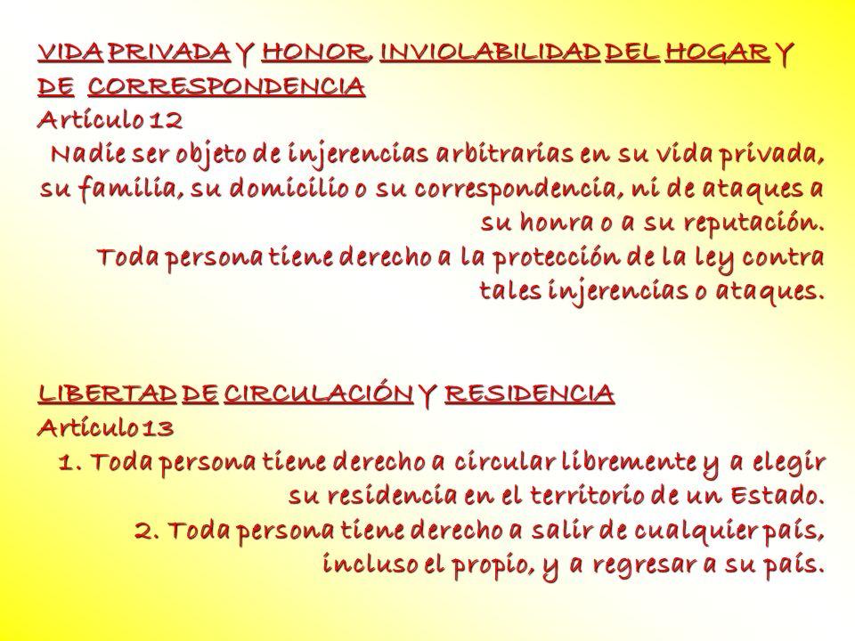 VIDA PRIVADA Y HONOR, INVIOLABILIDAD DEL HOGAR Y DE CORRESPONDENCIA