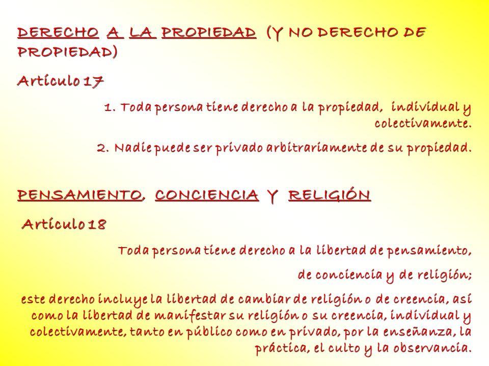 DERECHO A LA PROPIEDAD (Y NO DERECHO DE PROPIEDAD) Artículo 17