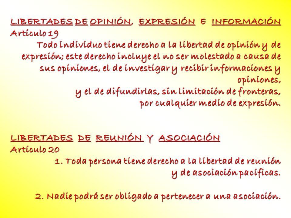 LIBERTADES DE OPINIÓN, EXPRESIÓN E INFORMACIÓN