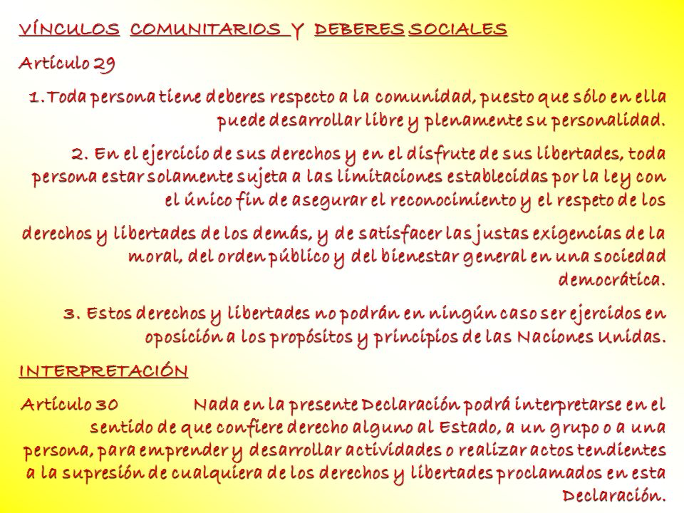 VÍNCULOS COMUNITARIOS Y DEBERES SOCIALES