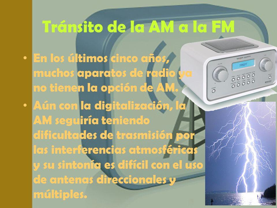 Tránsito de la AM a la FM En los últimos cinco años, muchos aparatos de radio ya no tienen la opción de AM.