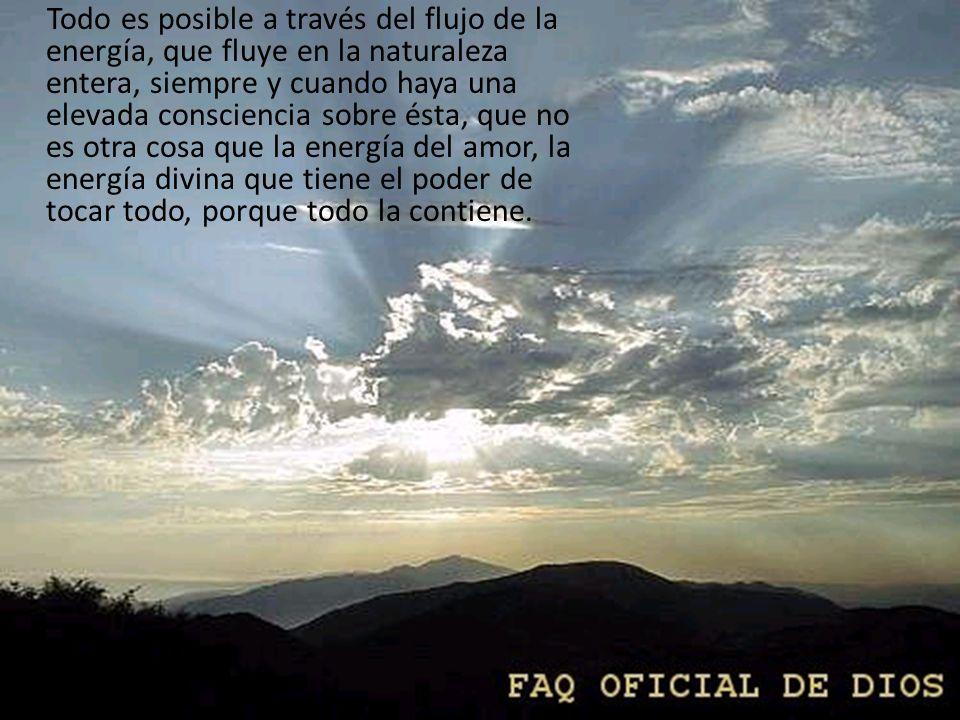 Todo es posible a través del flujo de la energía, que fluye en la naturaleza entera, siempre y cuando haya una elevada consciencia sobre ésta, que no es otra cosa que la energía del amor, la energía divina que tiene el poder de tocar todo, porque todo la contiene.