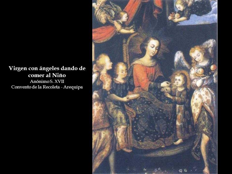 Virgen con ángeles dando de comer al Niño