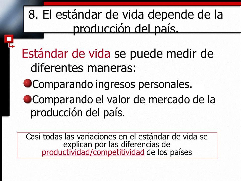 8. El estándar de vida depende de la producción del país.