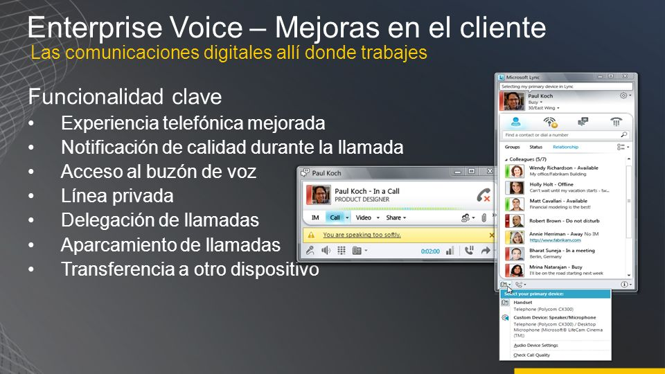 Enterprise Voice – Mejoras en el cliente