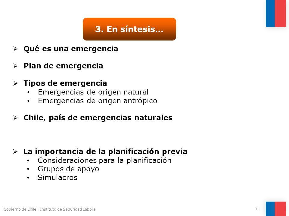 3. En síntesis… Qué es una emergencia Plan de emergencia