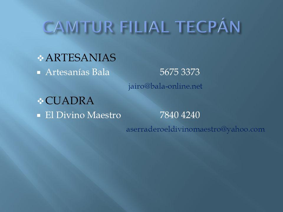 CAMTUR FILIAL TECPÁN ARTESANIAS CUADRA Artesanías Bala 5675 3373