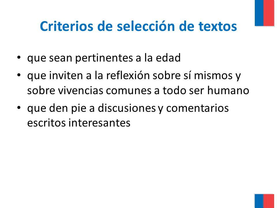 Criterios de selección de textos