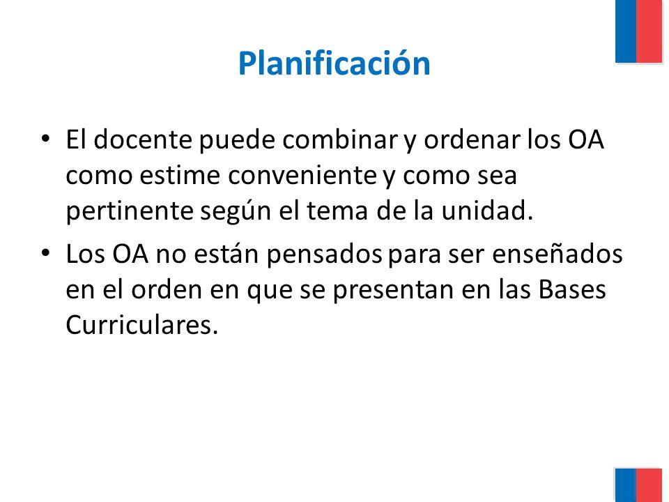 Planificación El docente puede combinar y ordenar los OA como estime conveniente y como sea pertinente según el tema de la unidad.