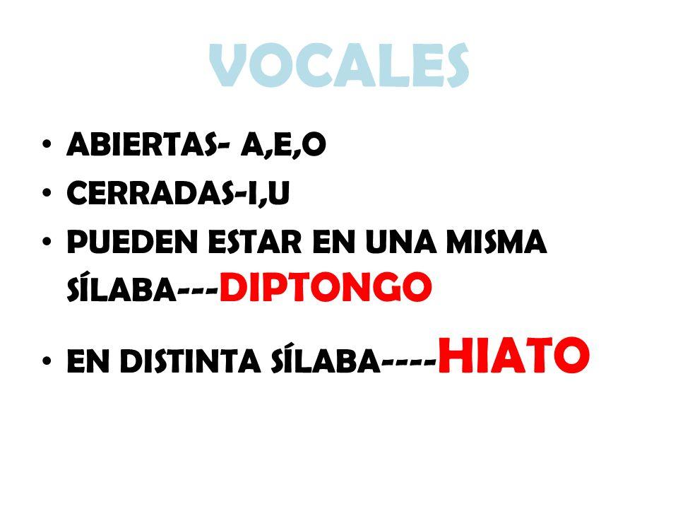 VOCALES ABIERTAS- A,E,O CERRADAS-I,U