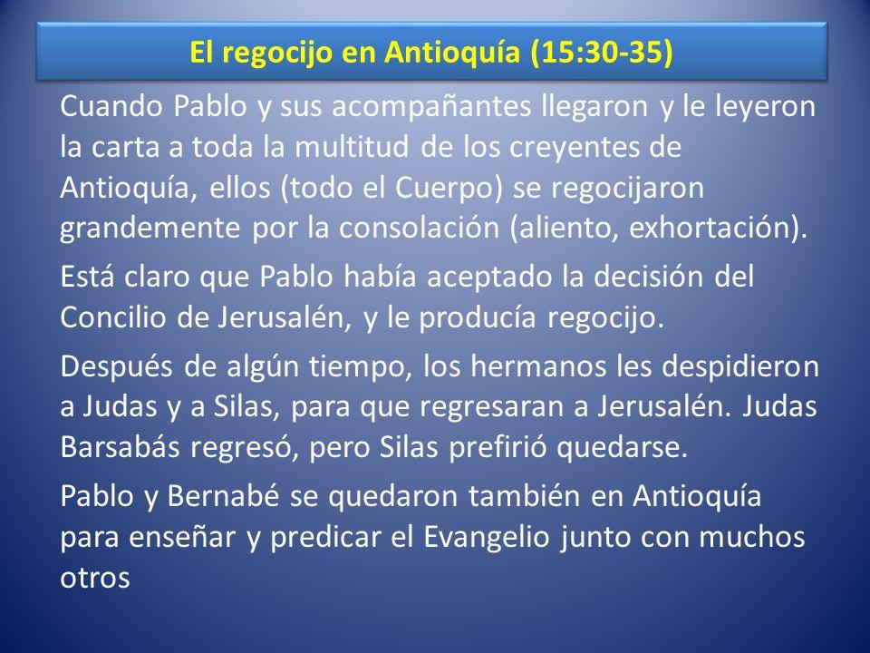 El regocijo en Antioquía (15:30-35)