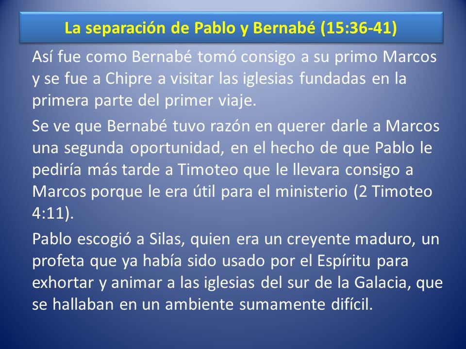 La separación de Pablo y Bernabé (15:36-41)
