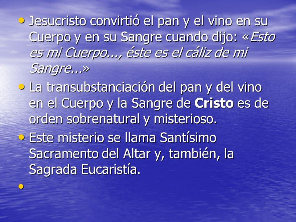 Jesucristo convirtió el pan y el vino en su Cuerpo y en su Sangre cuando dijo: «Esto es mi Cuerpo..., éste es el cáliz de mi Sangre...»