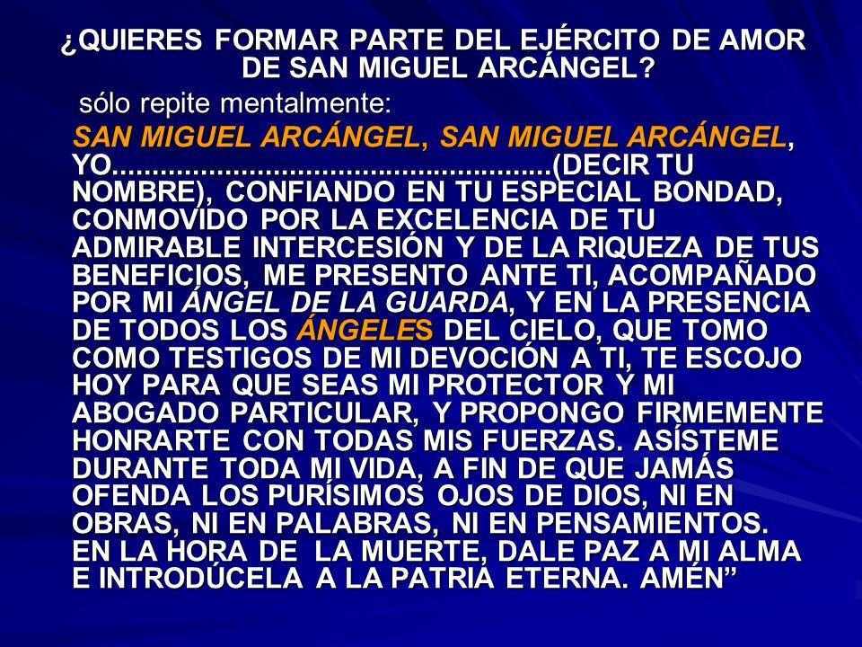 ¿QUIERES FORMAR PARTE DEL EJÉRCITO DE AMOR DE SAN MIGUEL ARCÁNGEL