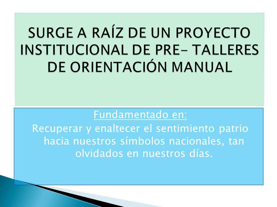 SURGE A RAÍZ DE UN PROYECTO INSTITUCIONAL DE PRE- TALLERES DE ORIENTACIÓN MANUAL