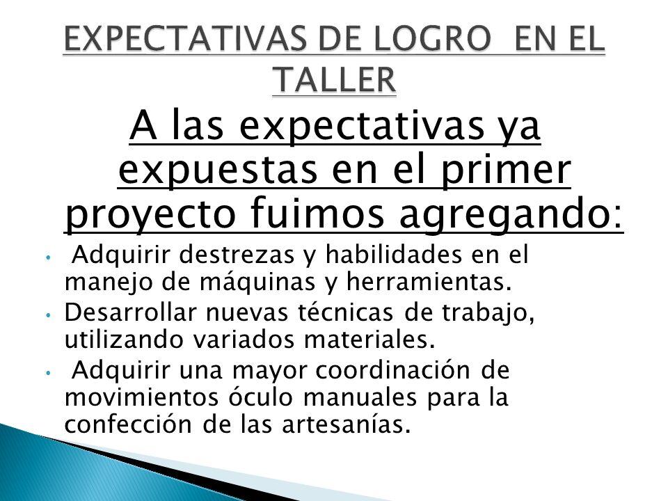 EXPECTATIVAS DE LOGRO EN EL TALLER