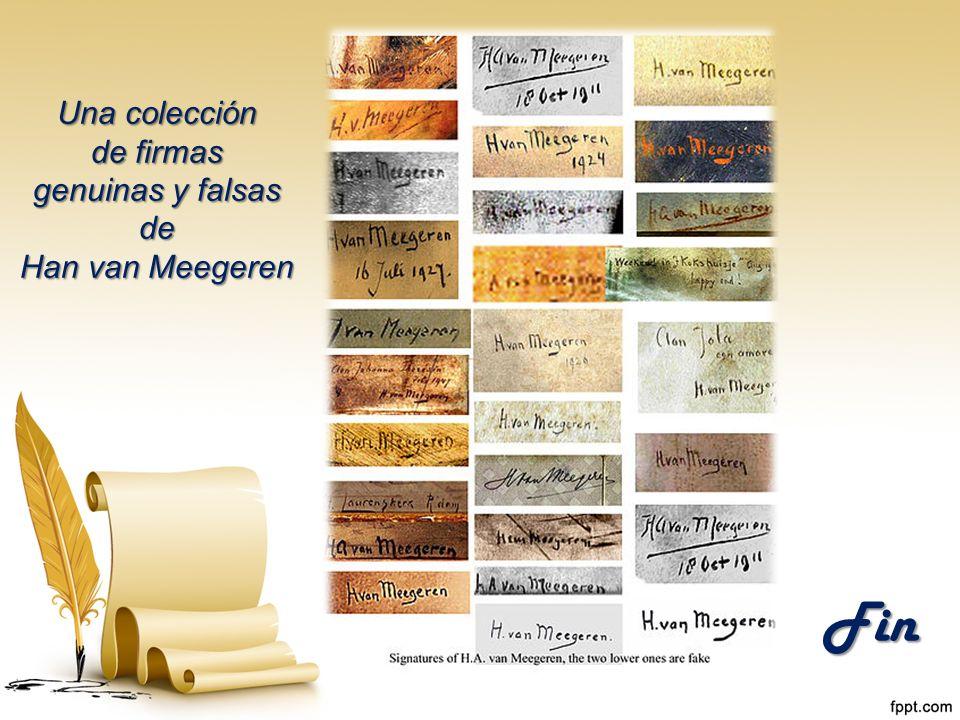 Una colección de firmas genuinas y falsas de Han van Meegeren Fin
