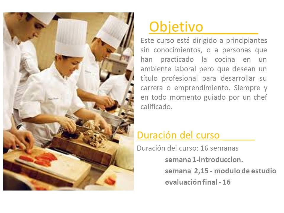 Introducci n a la cocina profesional ppt descargar - Cursos de cocina en barcelona para principiantes ...