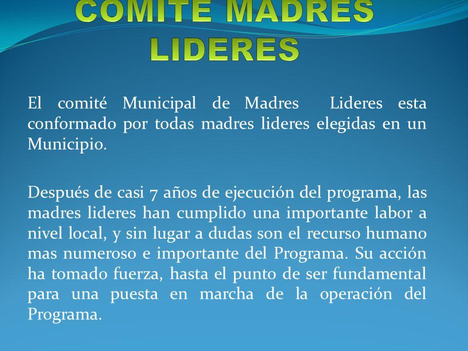 COMITÉ MADRES LIDERES El comité Municipal de Madres Lideres esta conformado por todas madres lideres elegidas en un Municipio.