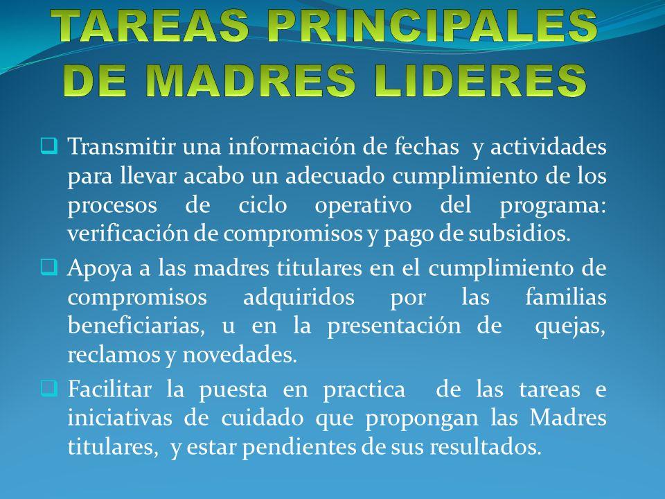 TAREAS PRINCIPALES DE MADRES LIDERES
