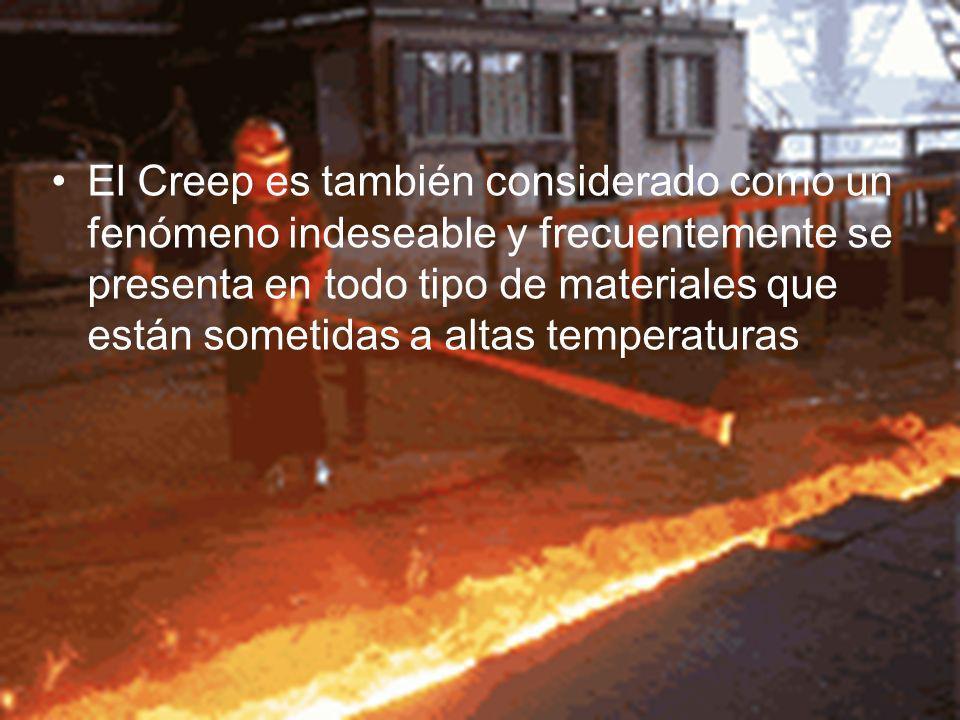 El Creep es también considerado como un fenómeno indeseable y frecuentemente se presenta en todo tipo de materiales que están sometidas a altas temperaturas