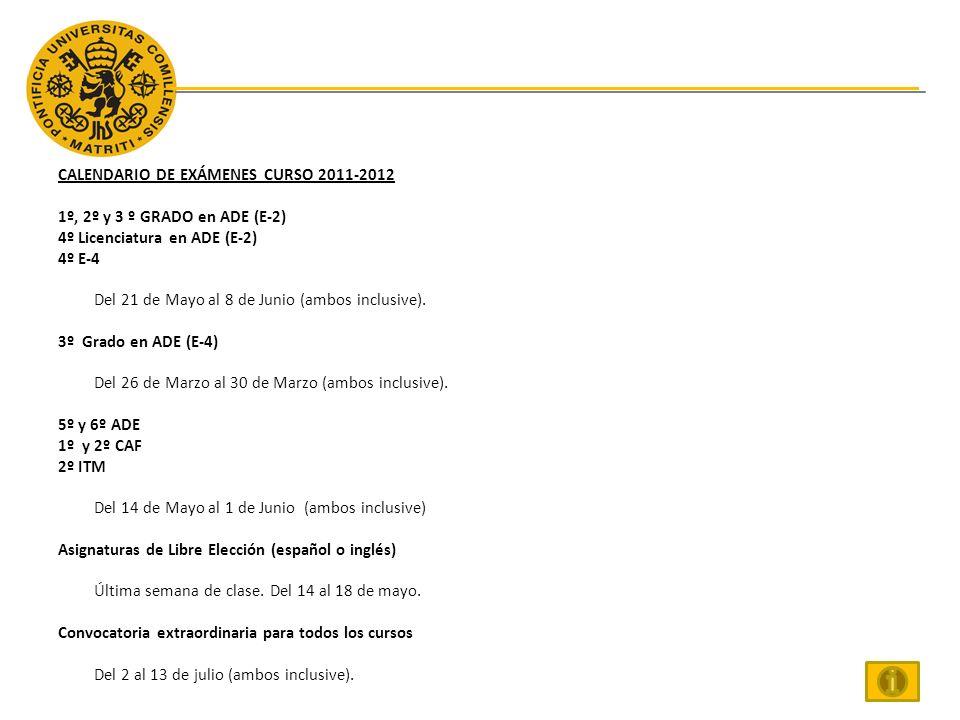 CALENDARIO DE EXÁMENES CURSO 2011-2012