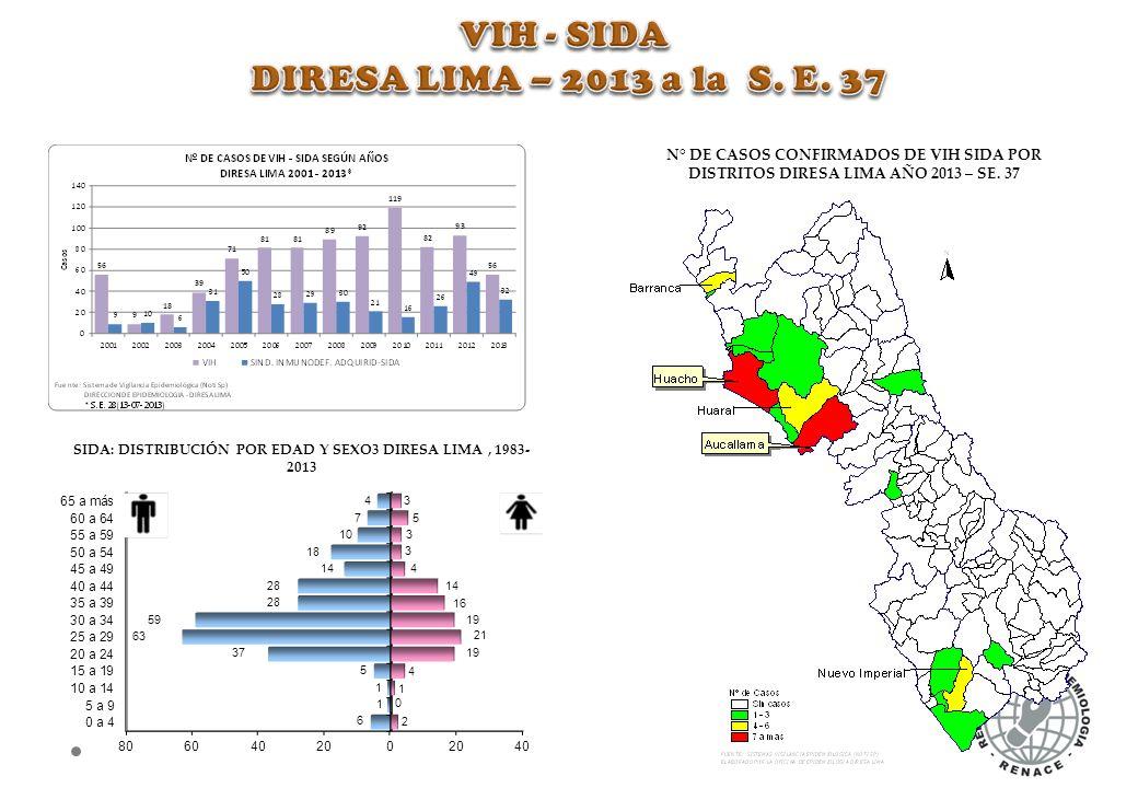 SIDA: DISTRIBUCIÓN POR EDAD Y SEXO3 DIRESA LIMA , 1983-2013