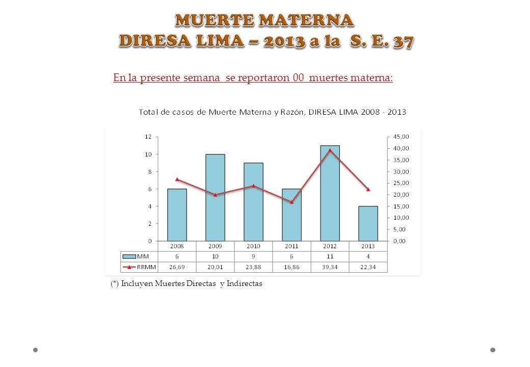 MUERTE MATERNA DIRESA LIMA – 2013 a la S. E. 37