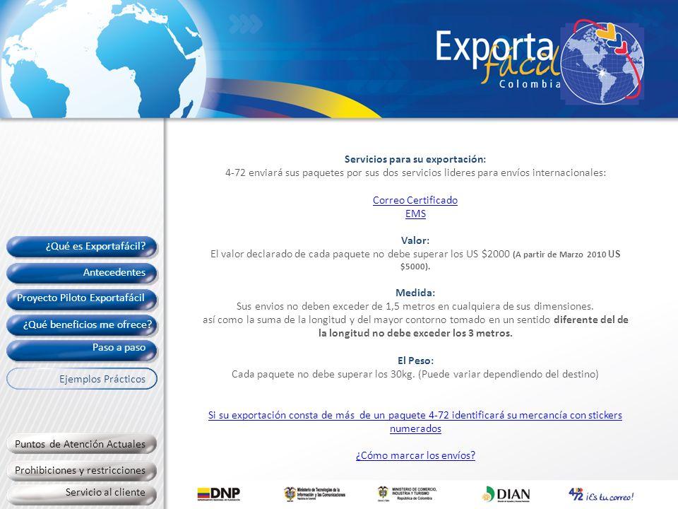 Servicios para su exportación: