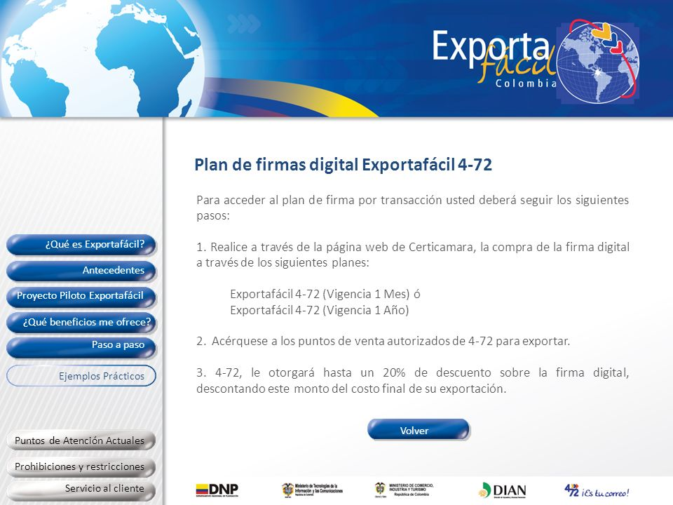Plan de firmas digital Exportafácil 4-72