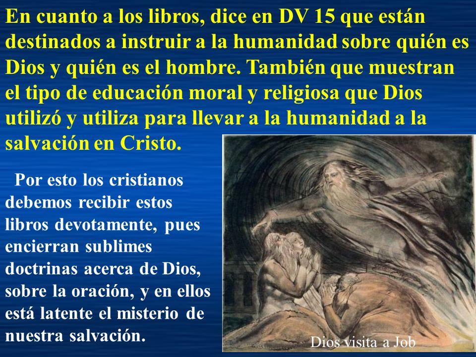 En cuanto a los libros, dice en DV 15 que están destinados a instruir a la humanidad sobre quién es Dios y quién es el hombre. También que muestran el tipo de educación moral y religiosa que Dios utilizó y utiliza para llevar a la humanidad a la salvación en Cristo.
