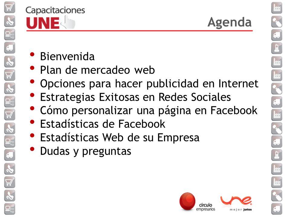 Agenda Bienvenida Plan de mercadeo web