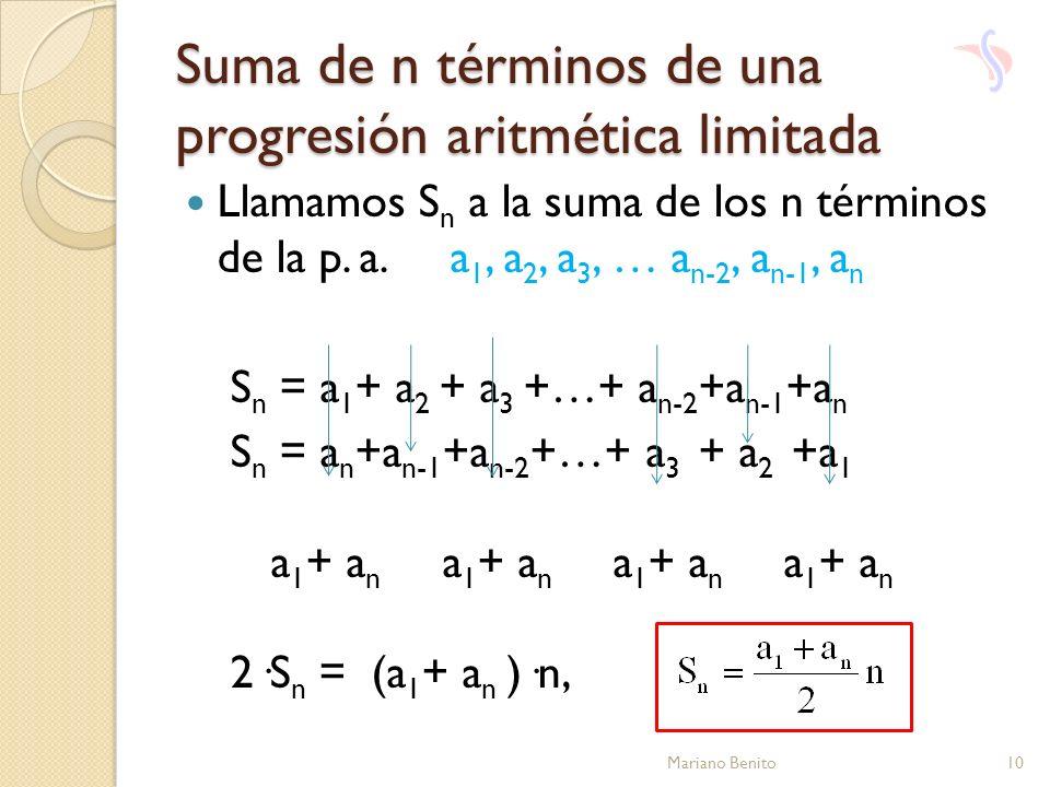 Suma de n términos de una progresión aritmética limitada