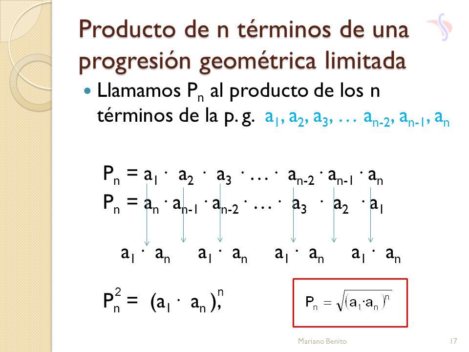 Producto de n términos de una progresión geométrica limitada