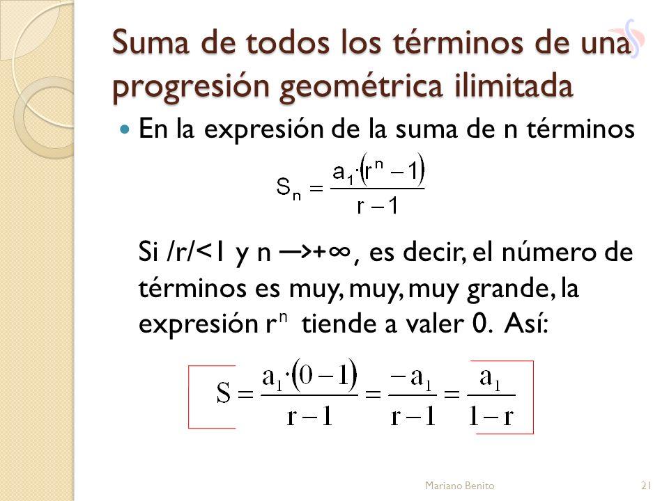Suma de todos los términos de una progresión geométrica ilimitada