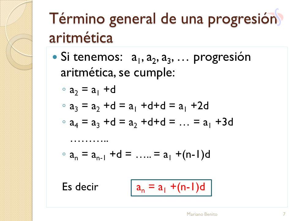 Término general de una progresión aritmética