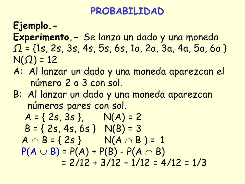 PROBABILIDAD Ejemplo.- Experimento.- Se lanza un dado y una moneda. Ω = {1s, 2s, 3s, 4s, 5s, 6s, 1a, 2a, 3a, 4a, 5a, 6a }