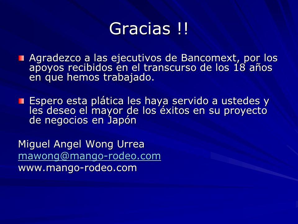 Gracias !! Agradezco a las ejecutivos de Bancomext, por los apoyos recibidos en el transcurso de los 18 años en que hemos trabajado.