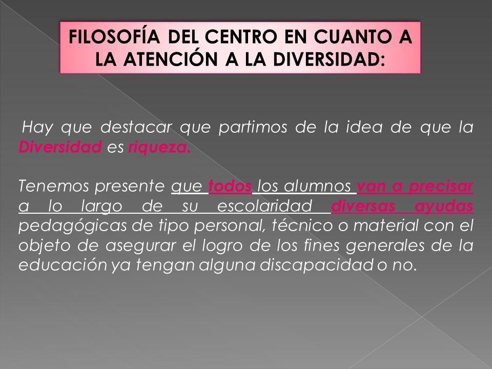 FILOSOFÍA DEL CENTRO EN CUANTO A LA ATENCIÓN A LA DIVERSIDAD: