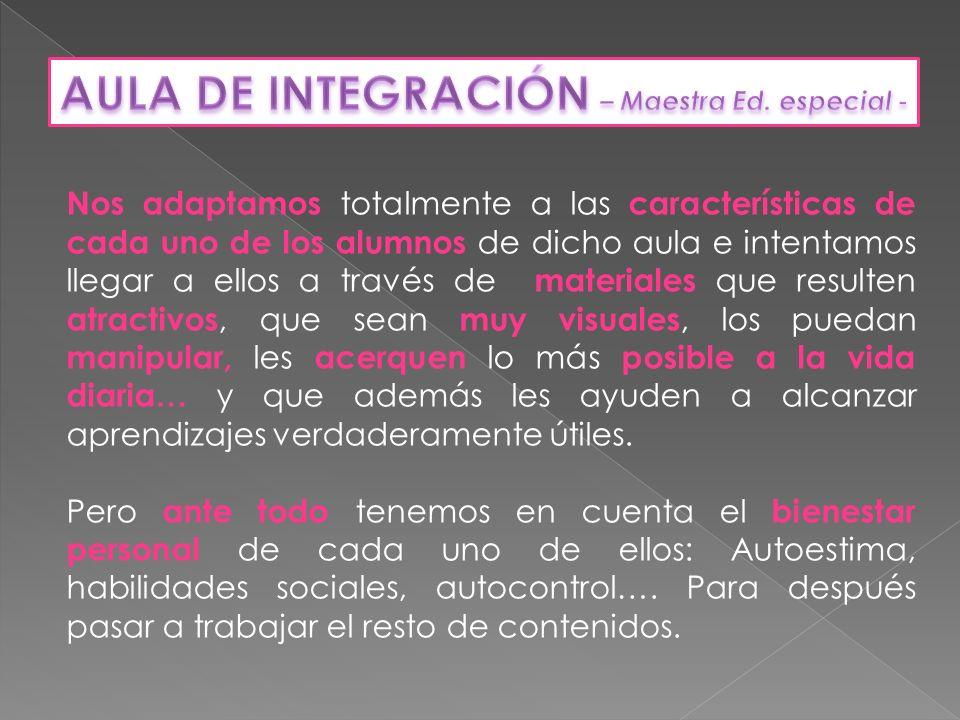 AULA DE INTEGRACIÓN – Maestra Ed. especial -