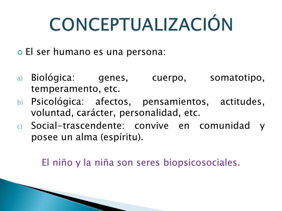 El niño y la niña son seres biopsicosociales.