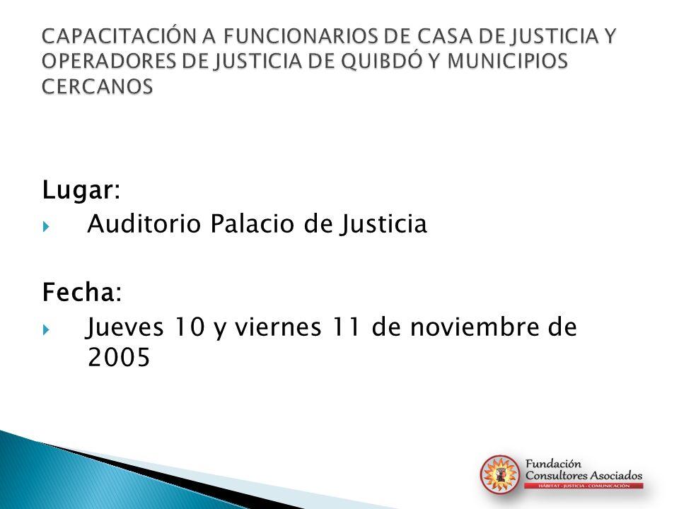 Auditorio Palacio de Justicia Fecha: