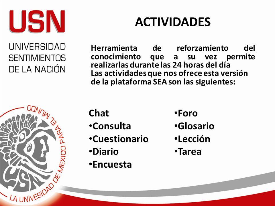 ACTIVIDADES Chat Foro Consulta Glosario Cuestionario Lección Diario