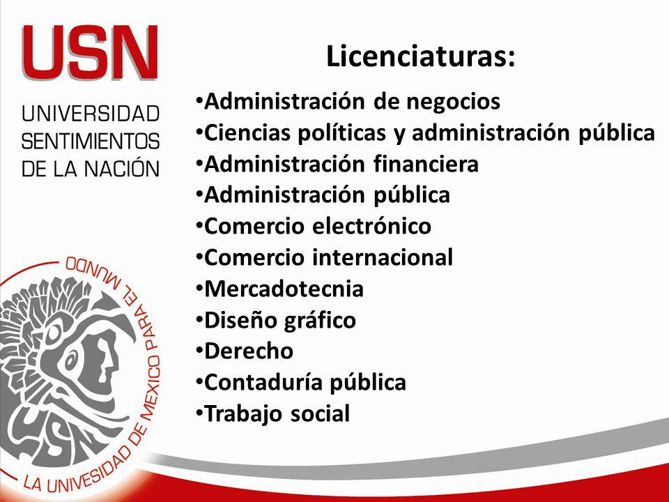 Licenciaturas: Administración de negocios