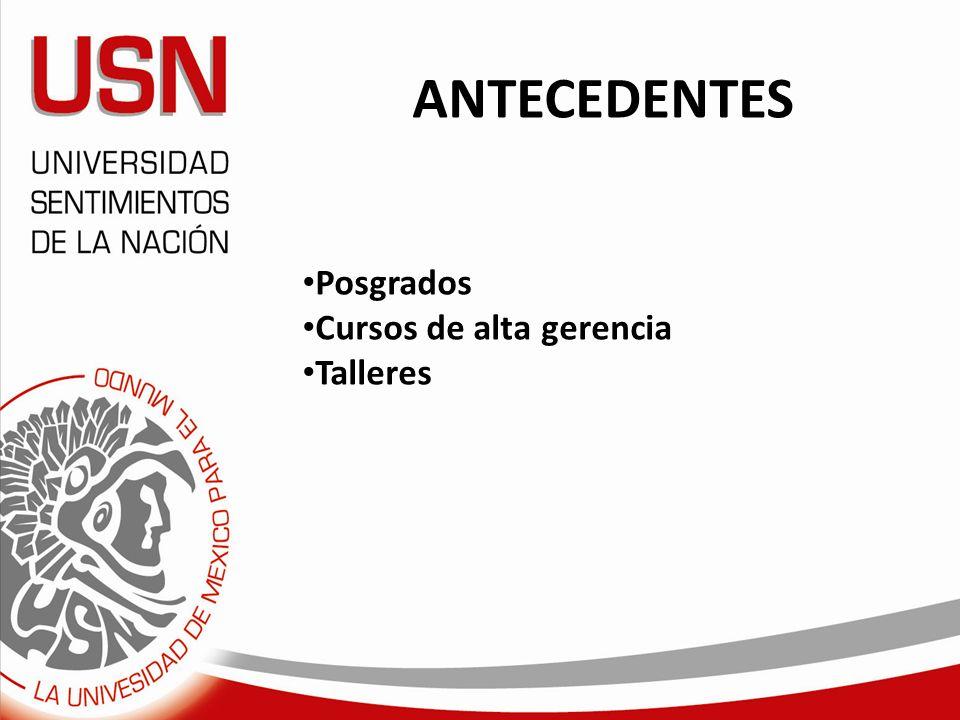 ANTECEDENTES Posgrados Cursos de alta gerencia Talleres