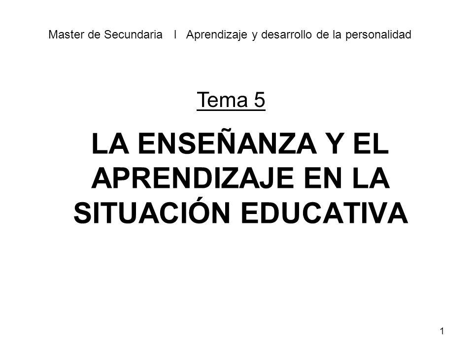 LA ENSEÑANZA Y EL APRENDIZAJE EN LA SITUACIÓN EDUCATIVA